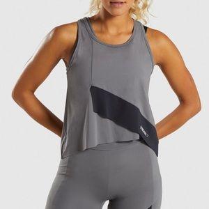 Gymshark Asymmetric Vest in Smokey Grey/Black